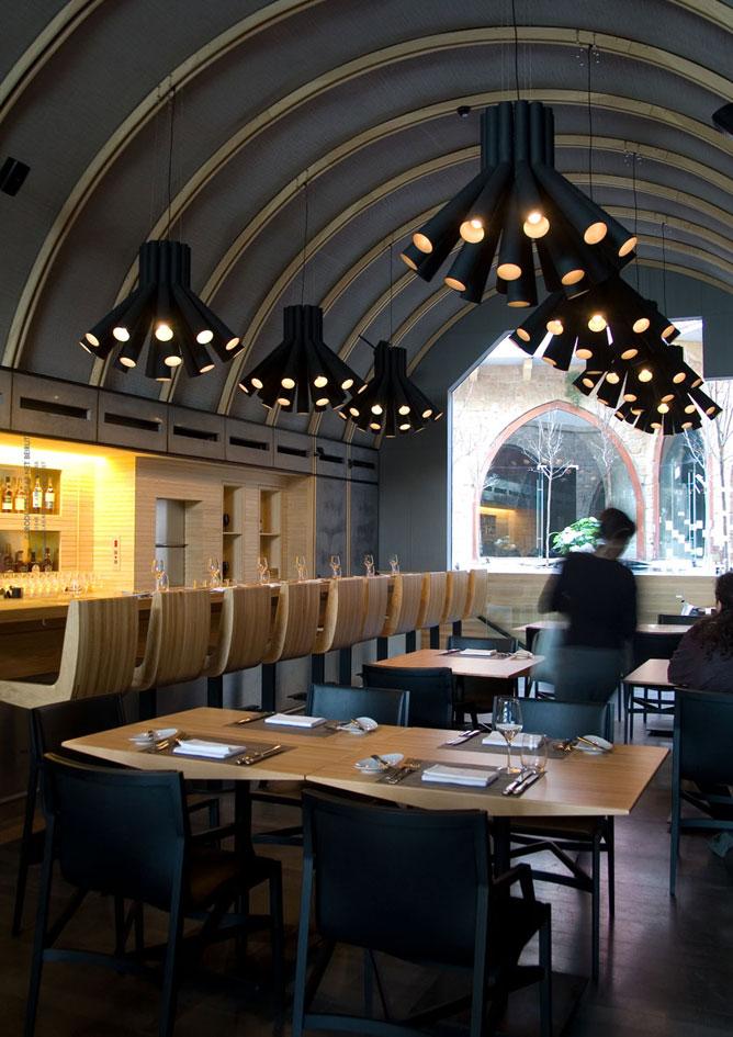 Burgundy wine bar restaurant lighting by pslab karmatrendz