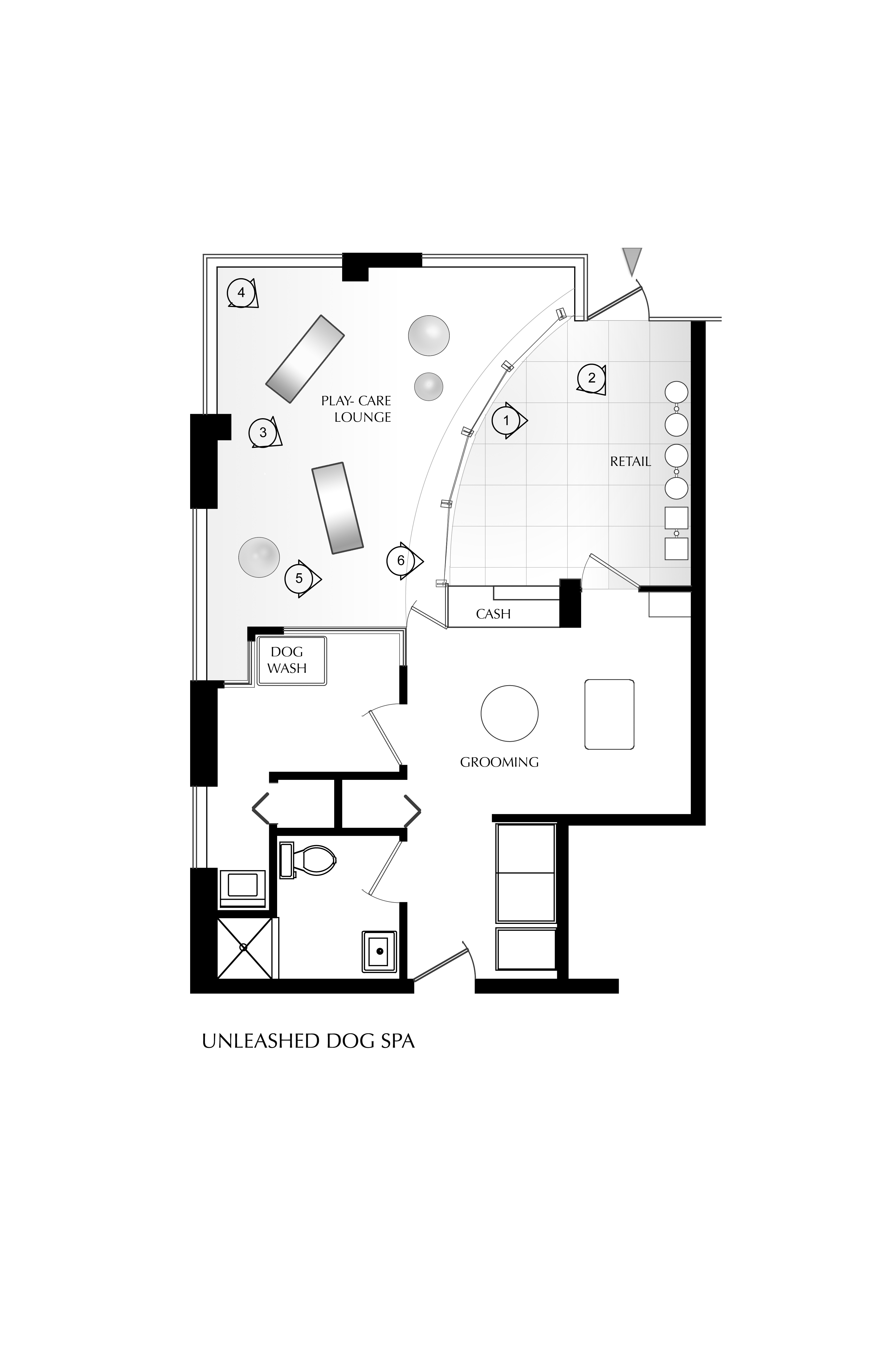 Unleashed dog spa by square one interiors karmatrendz for Salon layout plans